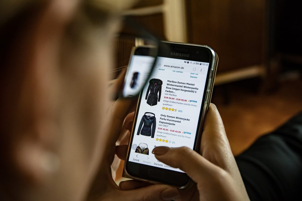 about online shopping. Selecting a product